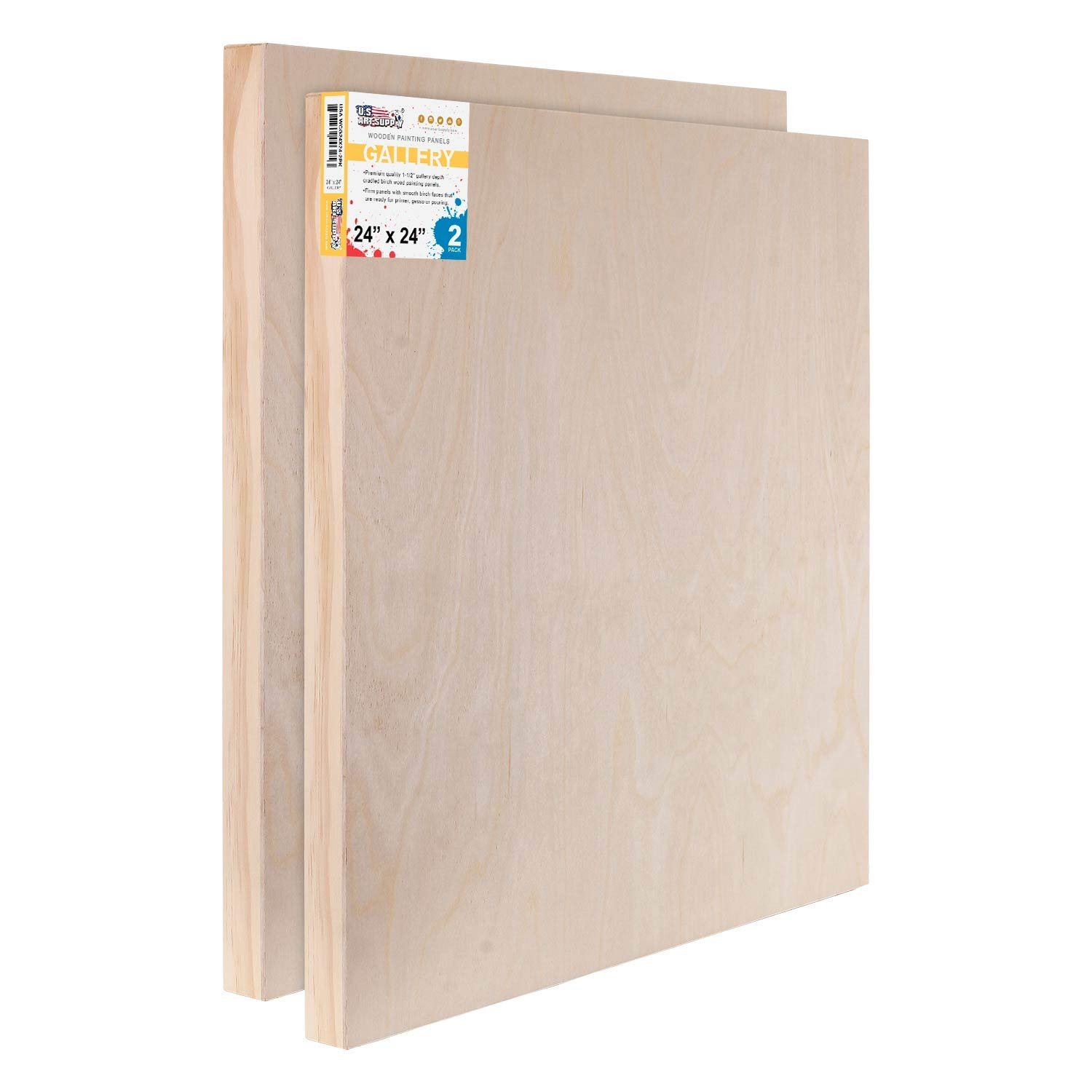 U.S. Art Supply 24'' x 24'' Birch Wood Paint Pouring Panel Boards, Gallery 1-1/2'' Deep Cradle (Pack of 2) - Artist Depth Wooden Wall Canvases - Painting Mixed-Media Craft, Acrylic, Oil, Encaustic by US Art Supply