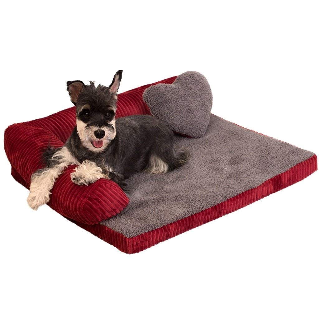 HZC Large Deluxe Rose Red Memory Foam Dog Sofa Bed Fleece for Large Dogs,Premium Corduroy and Smooth Velveteen Fabric, Detachable and Washable (Size : L) by HZC