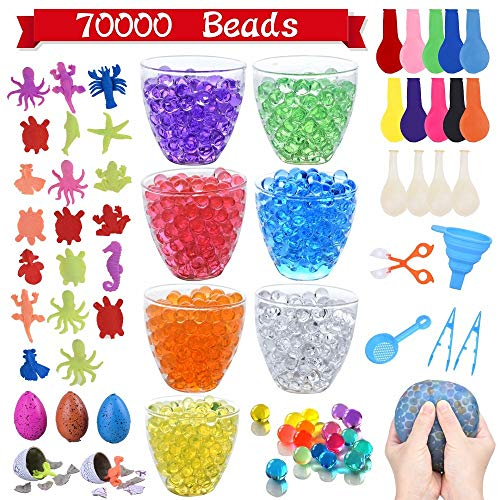 (70,000+ Water Beads, 7 Colors Jelly Growing Beads with 20 Ocean Sea Animals, 5 Dinosaur Eggs, 14 Balloons, 1 Funnel, 1 Scoops 2 Tweezers and 1 Spoon for Kids Sensory by Lelix)