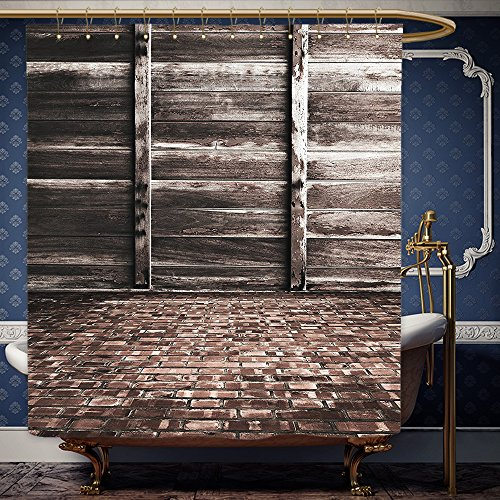 Wanranhome Custom-made shower curtain Rustic Decor Aged Cracked Striped Oak Boarded Plank Wall Back and Dated Brick Floor Picture Decor Brown For Bathroom Decoration 66 x 72 - Oaks Thousand Nordstrom