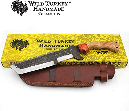 Wild Turkey Handmade Collection 14.5 Full Tang Fully Functional Fixed Blade Tracker Knife w Leather Sheath