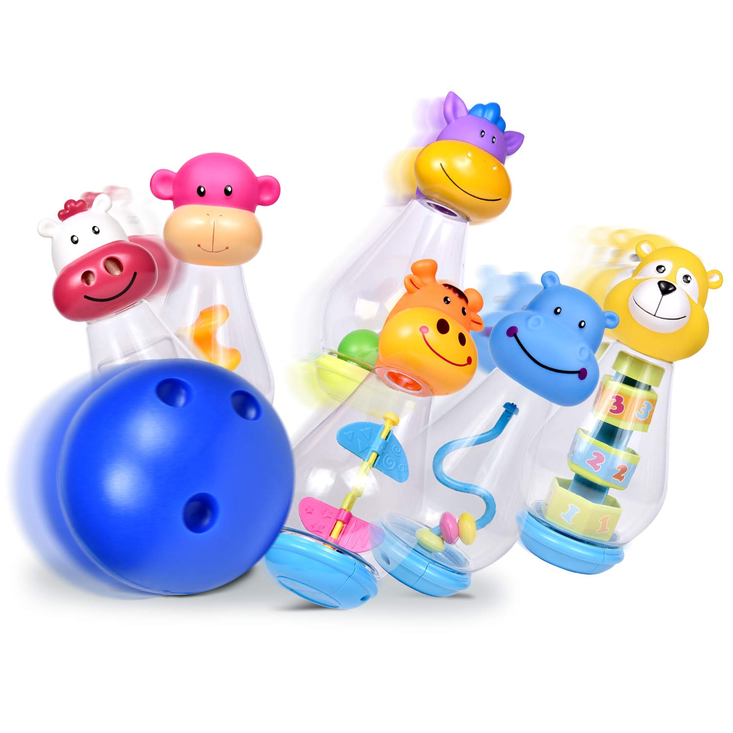 Bowling Set for Toddlers with 6 Animal Head Bowling Pins and 2 Bowling Balls, Toddler Outdoor Toys, Bowling Game for Kids by FUN LITTLE TOYS (Image #3)