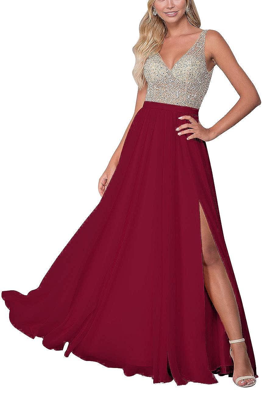 Burgundy Staypretty Long Prom Gowns VNeck Beaded Formal Backless Evening Dresses for Women High Slit