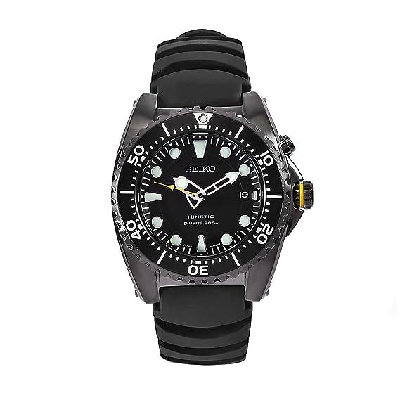 Seiko SKA427P2 - Reloj analógico de cuarzo para hombre con correa de caucho, color negro: Seiko: Amazon.es: Relojes