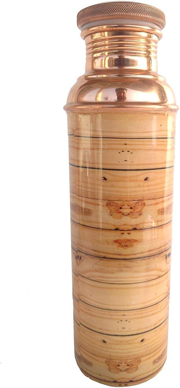Rastogi Handicrafts Botella de agua de cobre de 950 ml de capacidad ayurveda beneficio de la salud yoga deporte botella de madera diseño serigrafiado puro