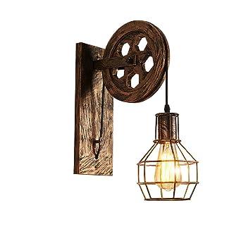 Lámpara de pared Estilo Vintage de Jaula de Hierro Aplique ...