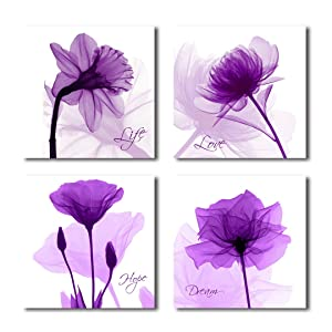 HLJ Arts 4 Panels Crystal Theme Giclee Flickering Blue Flowers Printed Paintings on Canvas for Wall Decor 12x12inches 4pcs/Set (Purple-A)