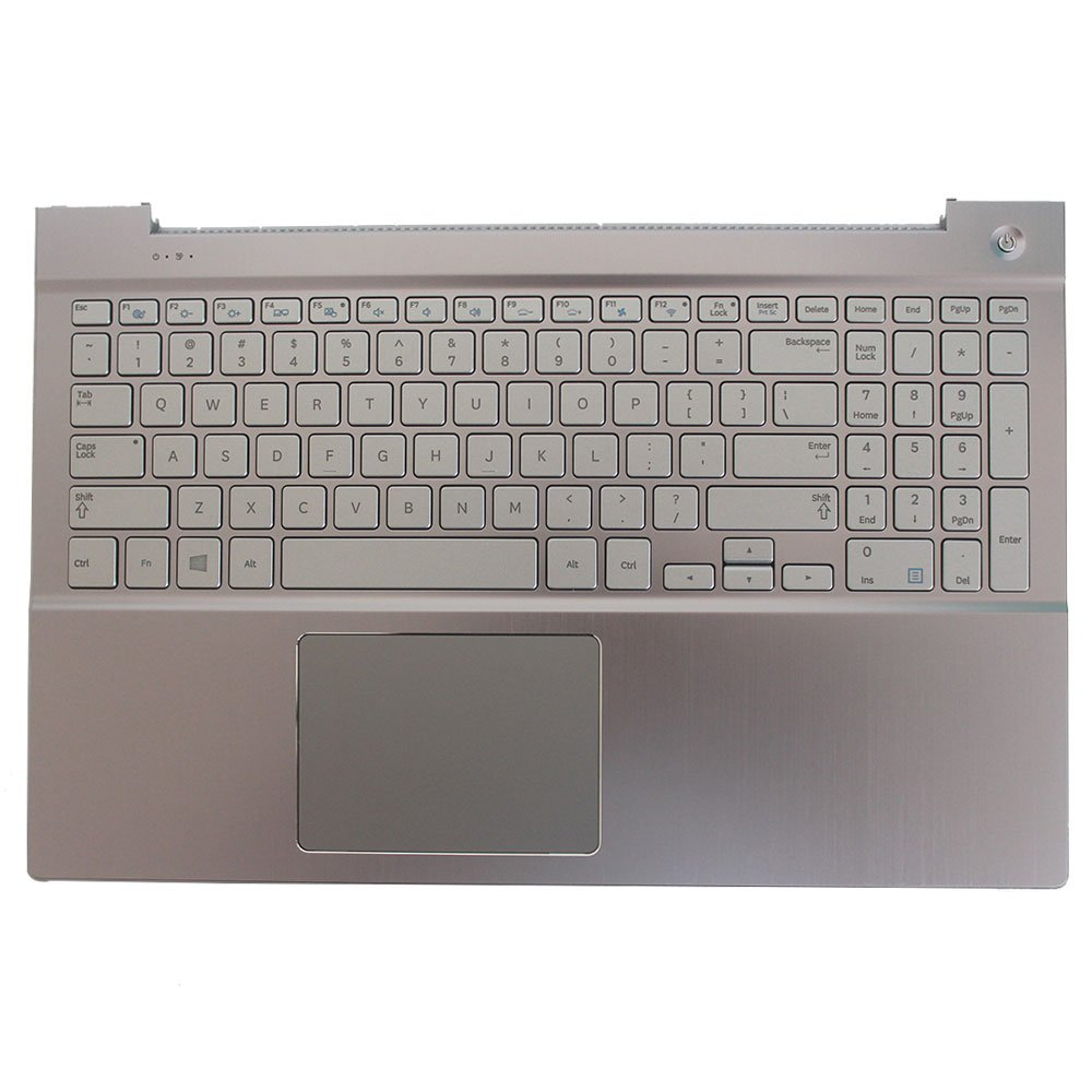 Laptop Replacement Keyboard for Samsung NP770Z5E 780Z5E NP780Z5E NP880Z5E BA75-04690A US Layout with C Shell (Sliver)