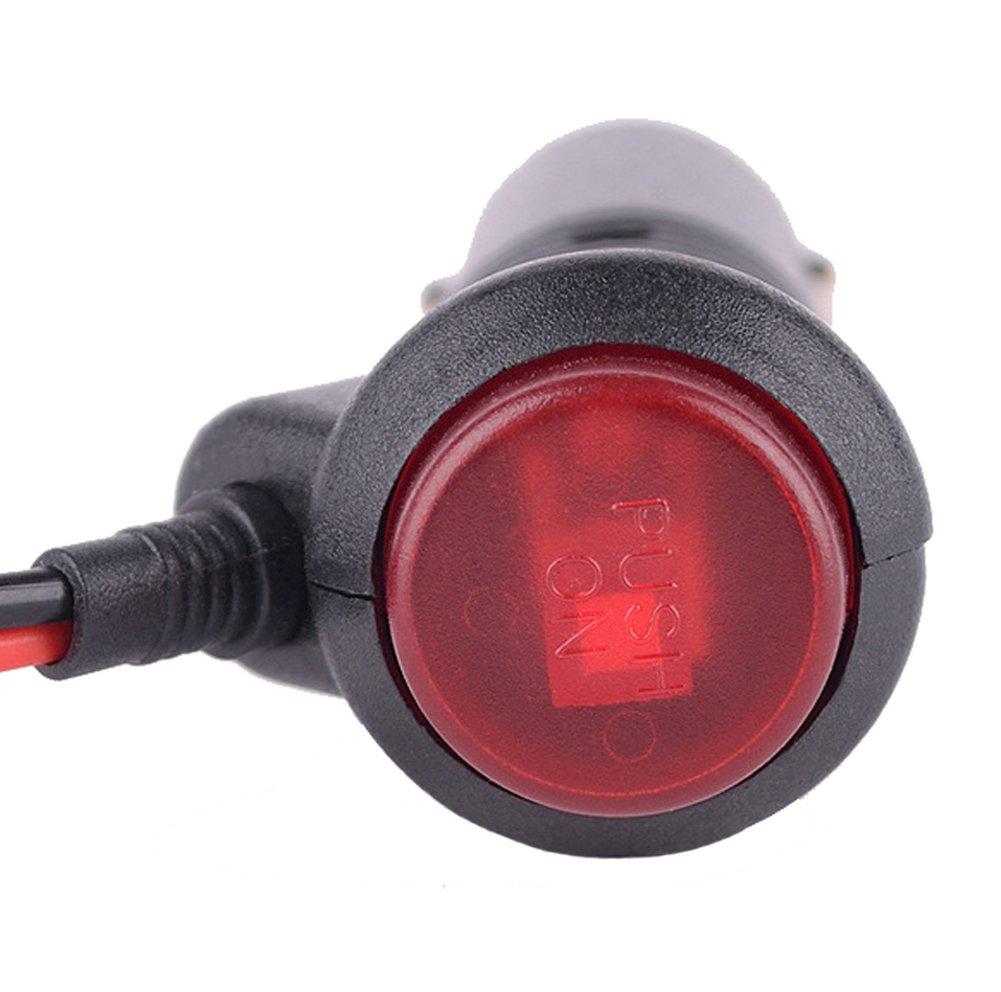 Carviya 5/pcs pour voiture ou moto//Moto 12/V-24/V allume-cigare adaptateur dalimentation prise c/âble avec interrupteur int/égr/é fusible 10/A 3/metres lot de 5
