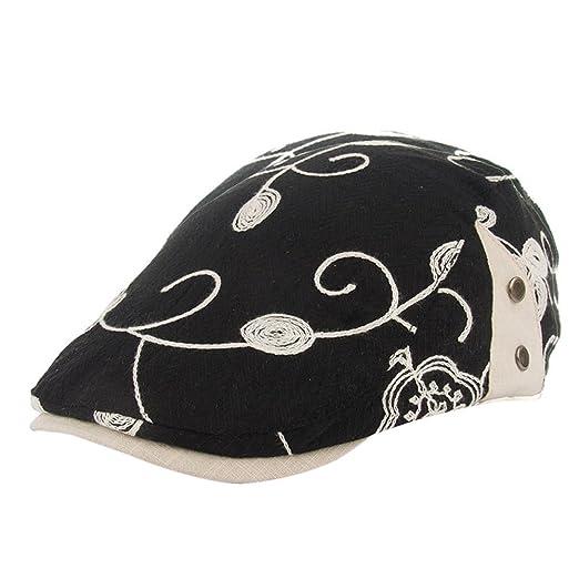 8e556ac36c6 DDKK Hat Women Retro Flowers Embroidery Berets Cap Hat Flat Caps Cotton  Greek Fisherman Sailor Fiddler Driver