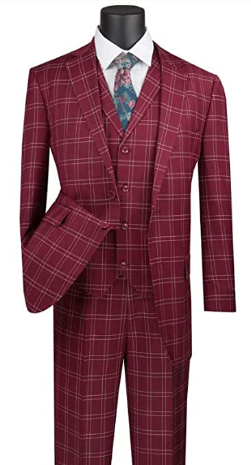 Men's Vintage Style Suits, Classic Suits VINCI Mens Glen Plaid Pattern 2 Button Single Breasted Classic Fit Suit W/Vest V2PD-1 $130.99 AT vintagedancer.com