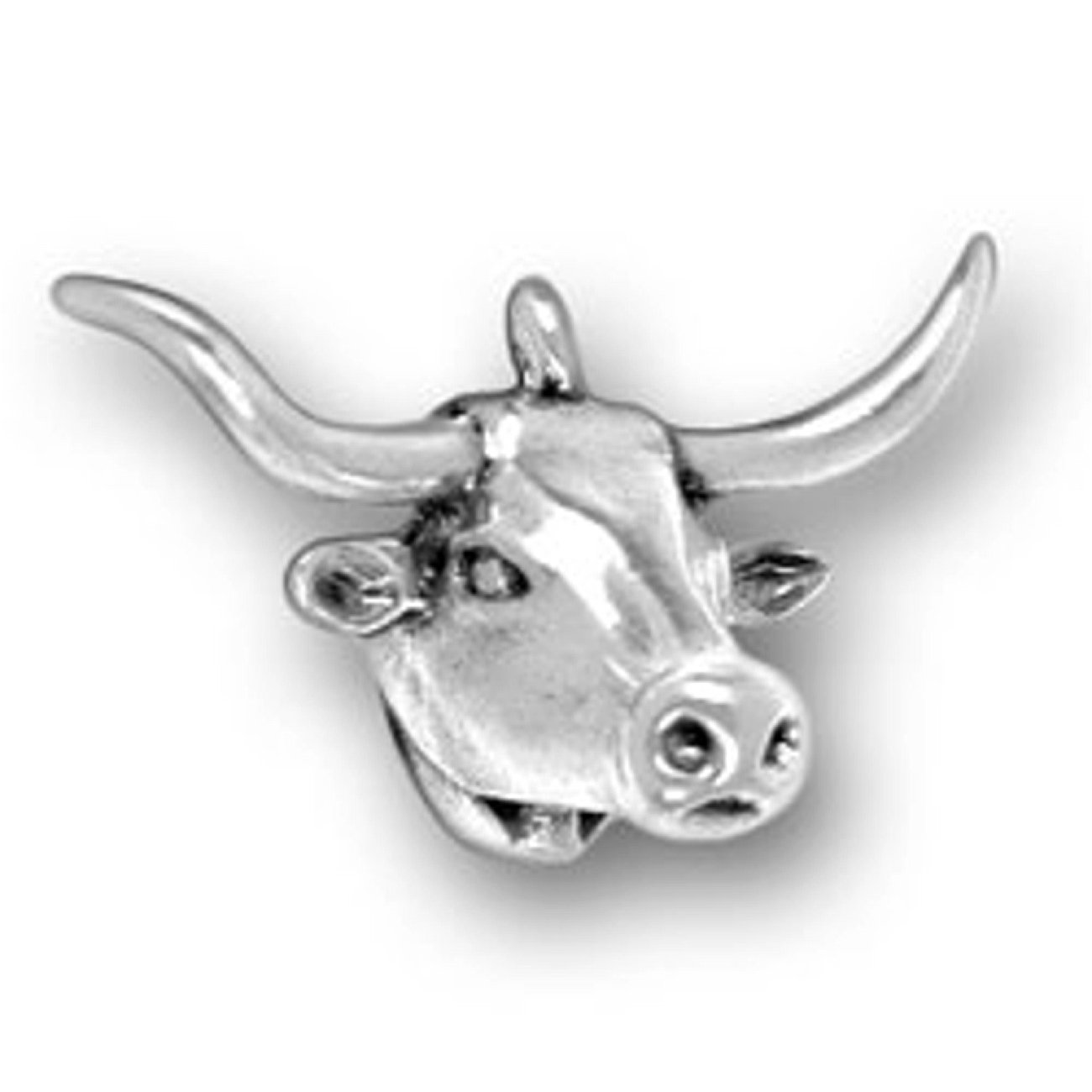 Sterling Silver Womens 1mm Box Chain 3D Texas Longhorn Cattle Cow Head Pendant Necklace