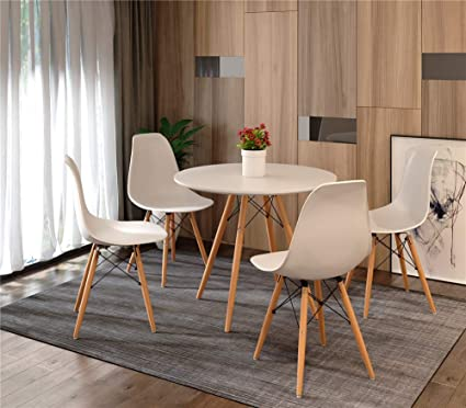 Stream Dining Table With 4 Chairs Modern White Round Table For Kitchen Dining Room Coffee Leisure Table 5 Pieces White Table Chair