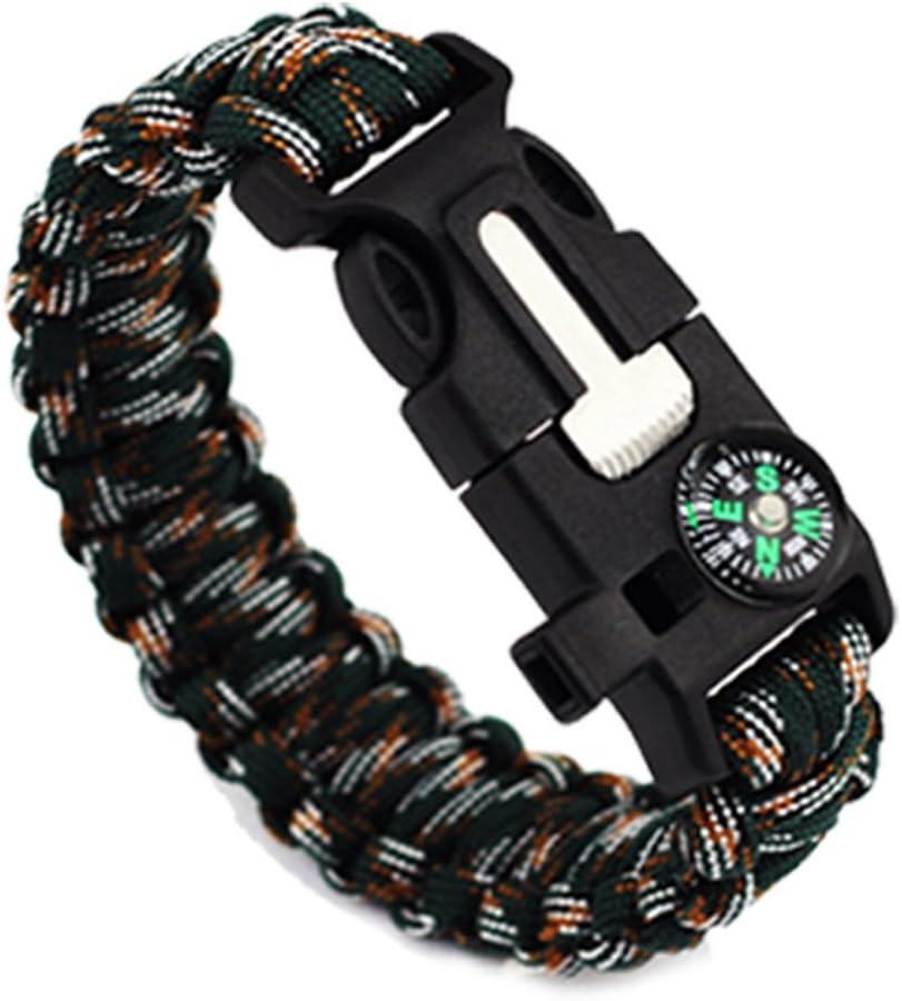Functional Hand Rope Camping Survival Emergency Bracelet NIELSEN Whistle Flint Compass Scraper Umbrella Rope Five in One Bracelet Outdoor Multi