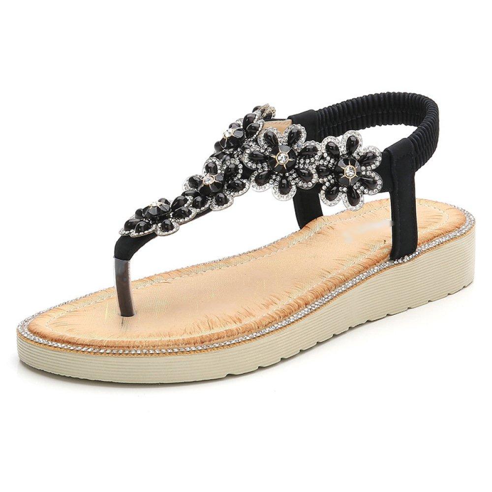 LDZY Strass Flowered Sandalen Klippzehe Bohemian Style Flip Flop Schuhe T-Strap Knöchelriemen Flache Elastische Reise Strandschuhe  EU37/UK4|Black