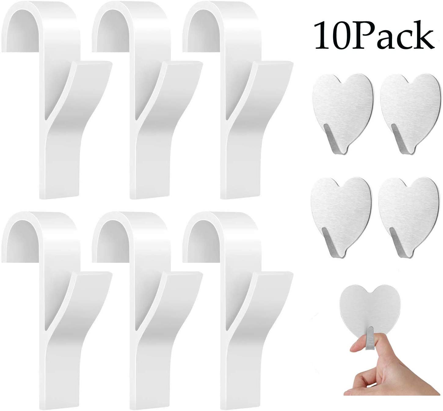 JOYUE Gancho para Radiador Toallero, Gancho para Radiador de Toalla de 6 Piezas y 4 Piezas Ganchos Adhesivos Toalla (10 piezas)
