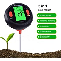 CESTLAVIE Digital 4 in 1 Soil Moisture Meter can Test Moisture , PH Value, Temperature and Environment Sunlight Intensity of Soil via Using a Probe with the Length of 200mm for Home, Garden, Lawn, Farm Promote Plants Healthy Growth