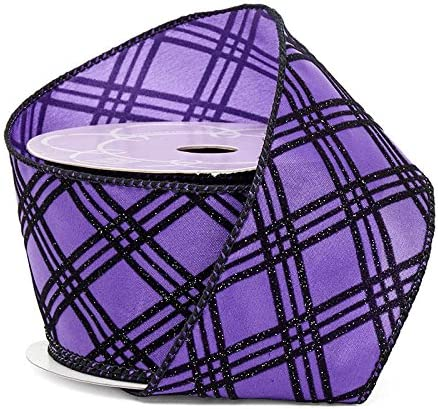 "5 Yards Purple Lavender Plaid Burlap Wired Ribbon 1 1//2/""W"