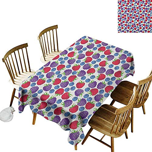 (DONEECKL Colorful Home Decoration Tablecloth Anti-Overflow Tablecloth Wild Fruits Collections Raspberry Blueberry and BlackBerry Fresh Healthy Options Multicolor W52 xL70)