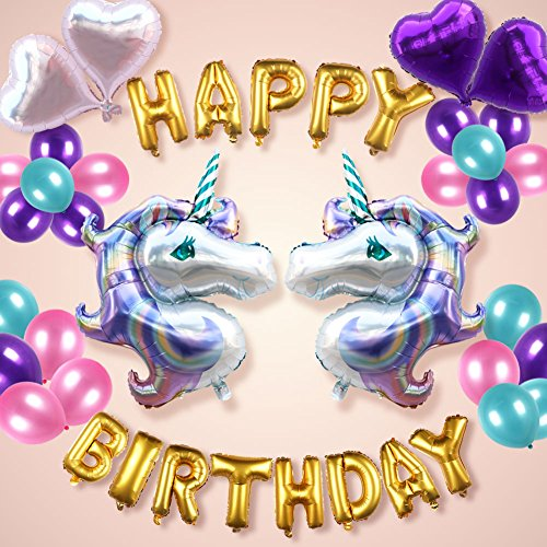 Wmbetter Unicorn Balloons Birthday Party Decorations, Set of 51 Pcs Unicorn Birthday Party Supplies, Large Unicorn Ballons Heart Balloons and Birthday Banner Pink & Purple Balloons Baby Birthday Decor