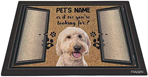 BAGEYOU Funny Goldendoodle Doormat is It Me You re Looking for Custom Dog s Name and Text Outdoor Rug Floor Mat 35.4 x 23.6