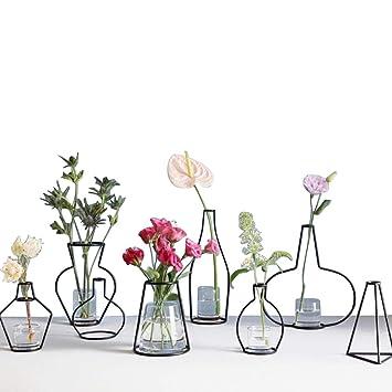 ZONYEO Minimalist Metall Vase Typ C Schwarz