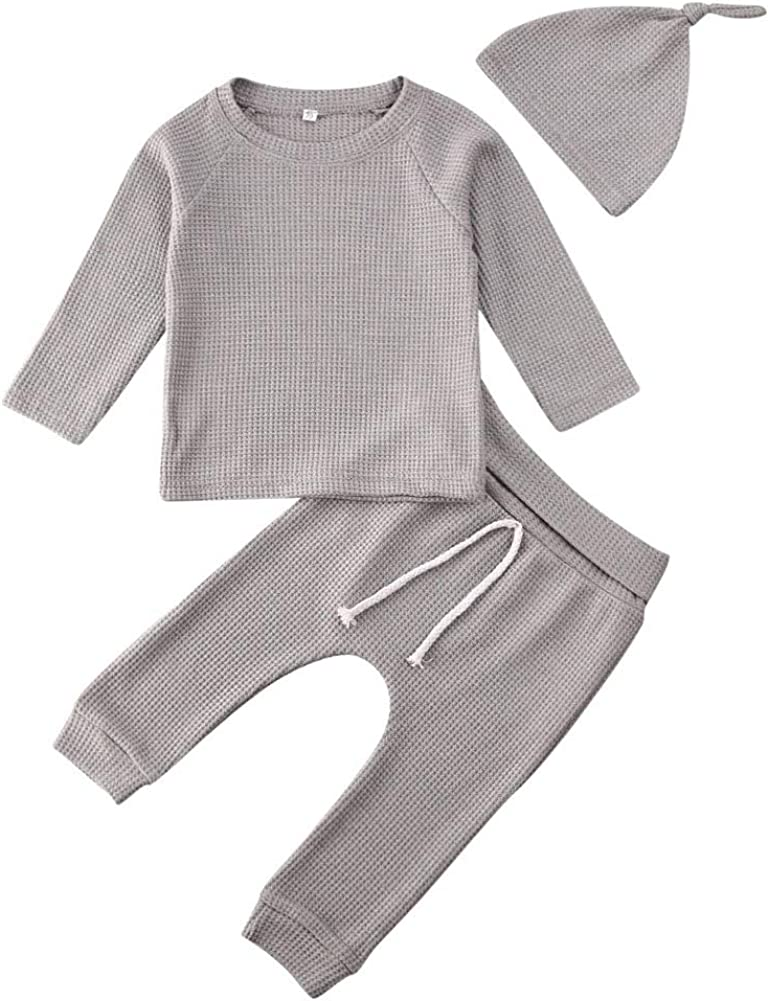 Newborn Baby Boys Girls Waffle Knit Cotton Homewear Outfit with Hat Long Sleeve Top+Pants Pajamas Set