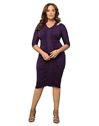 5d1d0cd1a5bf Amazon.com: Kiyonna Women's Plus Size Riveting Ruched Dress 3X ...