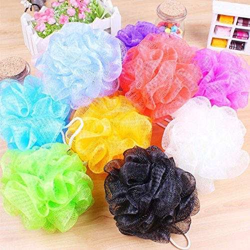 10PC Bath/Shower Body Exfoliate Puff Sponge Mesh Net Ball Scrubber Random Color