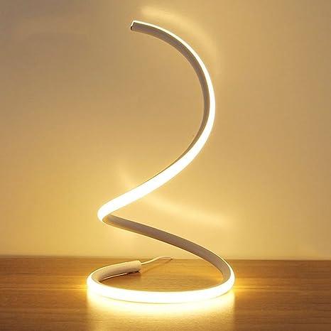 Modeen 40W Lámpara de Mesa LED Espiral, lámpara de Escritorio Moderna del LED lámpara de cabecera del Dormitorio Minimalista del Material de acrílico ...
