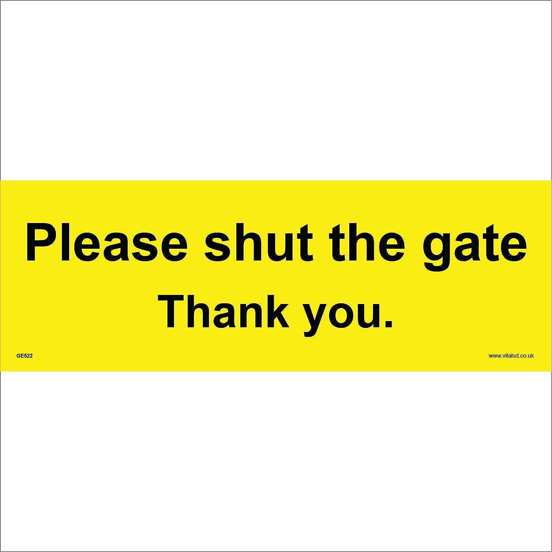 GE522 General Sign Please Shut The GATE Thank You. 600mm x 200mm 3MM Standard FOAMEX FOAMBOARD