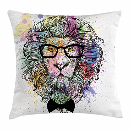 Ambesonne Fashion House Decor Throw Pillow Cushion Cover by, Hipster Lion with Glasses and Bowtie King of Animals Splash Style Art, Decorative Square Accent Pillow Case, 18 X 18 Inches, (Party Art Throw Pillow)