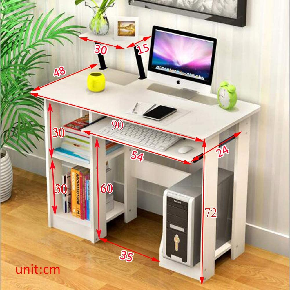 Sanery Modern Design White Computer Desk With Desktop Bookshelf Wooden Writing Table With Metal Legs Home Office Workstation Desks Home Office Furniture