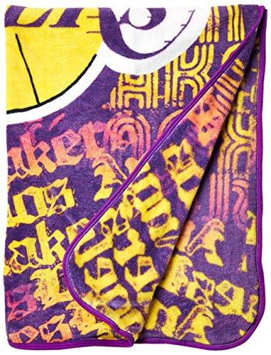 Northwest Officially Licensed NBA Los Angeles Lakers Redux Micro Raschel Throw Blanket, 46