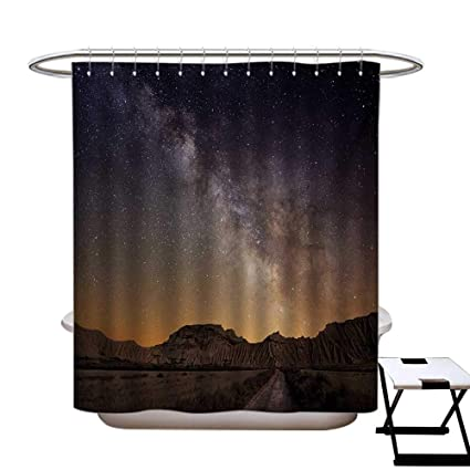 Haommhome Night Polyester Fabric Shower Curtain Liner Milky Way Over Desert Of Bardenas Spain Ethereal View