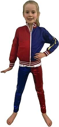 Ladies HarleyQuinn Style Suicide Squad Metallic Jacket Hot PantsShorts Halloween