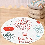 VROSELV Custom carpetValentines Day Decor Love is in the Air Quote with a Heat Balloon Hearts Flowers for Bedroom Living Room Dorm Red Blue and White Round 72 inches