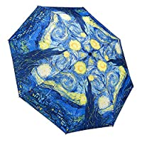Galleria Van Gogh Starry Night Auto-Open/Close Large Portable Rain Fold Umbrella