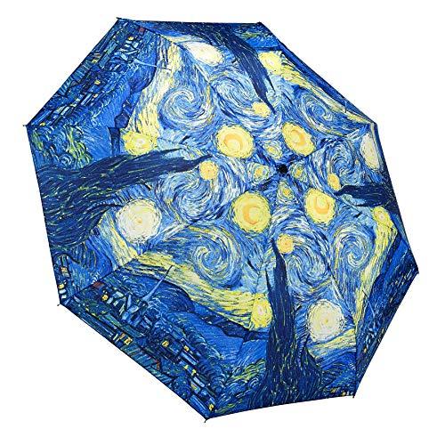 Galleria Van Gogh Starry Night Auto-Open/Close Large Portable Rain Fold Umbrella