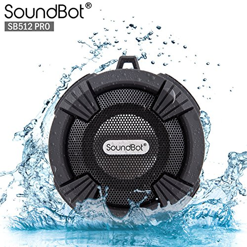 SoundBot® SB512-PRO HD Premium Water & Shock Resistant Bluetooth Wireless Shower Speaker, Hands-Free Portable Speakerphone w/ Hi-Fi Output, Built-in Mic, 6Hrs Playtime