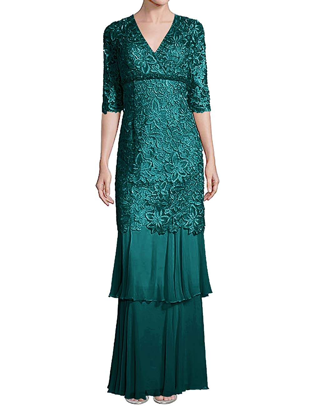 Peacock H.S.D Mother of The Bride Dresses Lace Formal Gowns Long Evening Dresses Sleeve Tiered