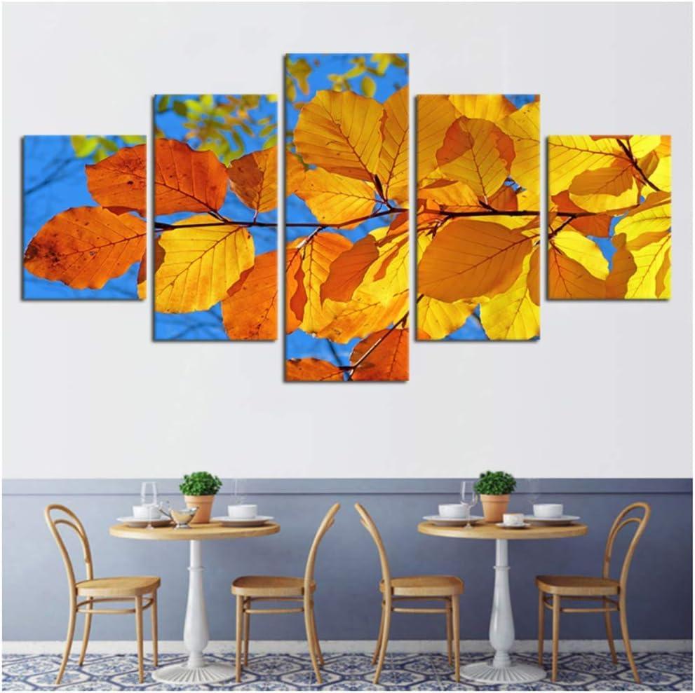 Lienzo Pinturas Cartel HD Impreso 5 Piezas Bonita Hoja Paisaje Imágenes Decoración de la sala de estar 20x35cmx2 20x45cmx2 20x55cm Con marco amarillo