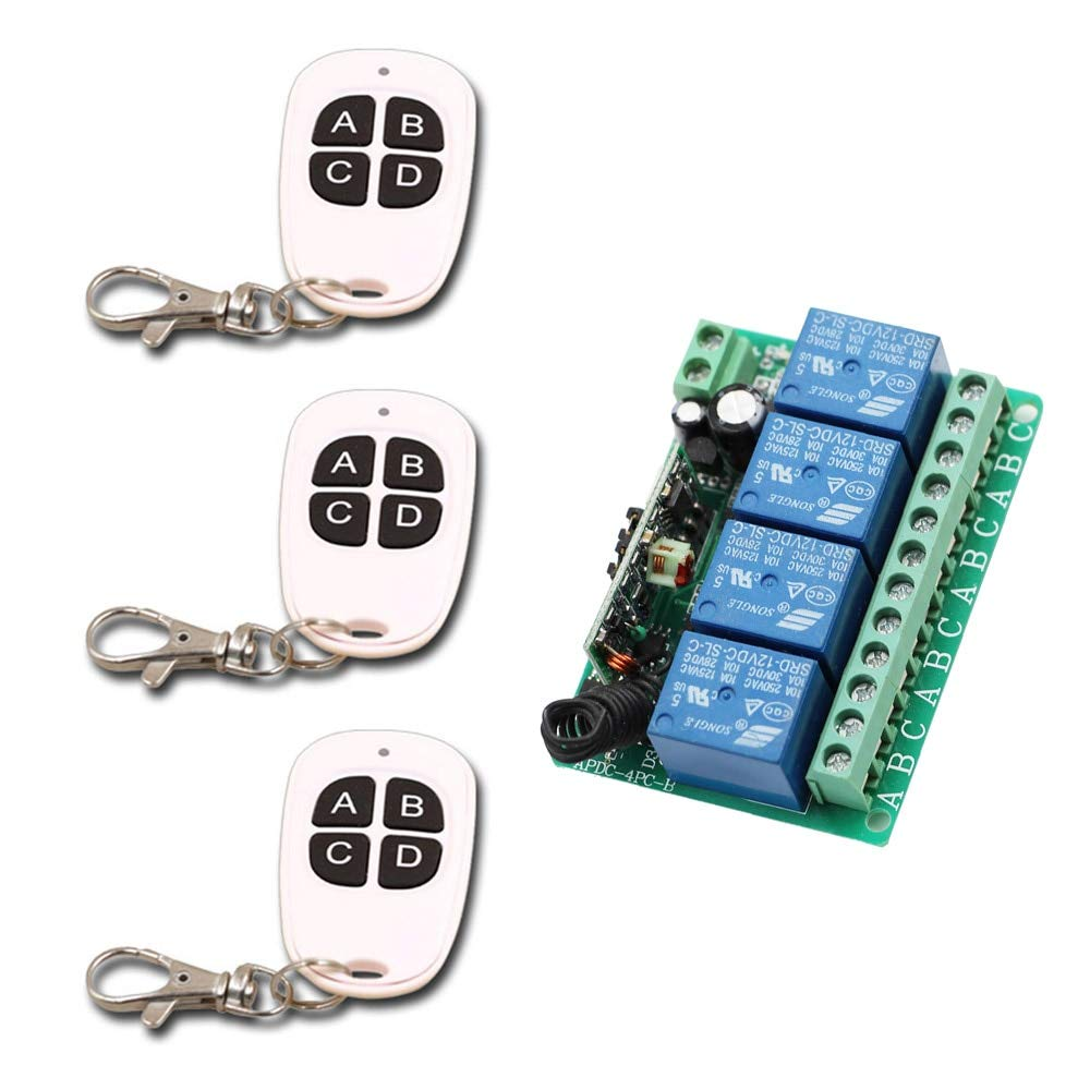 DC12V 433MHZ New DC 12V 10A Relay 4 Channel Wireless RF Remote Control Switch 4 Buttons Transmitter and Receiver for Wireless System ON Off  (color  DC12V 433MHZ)