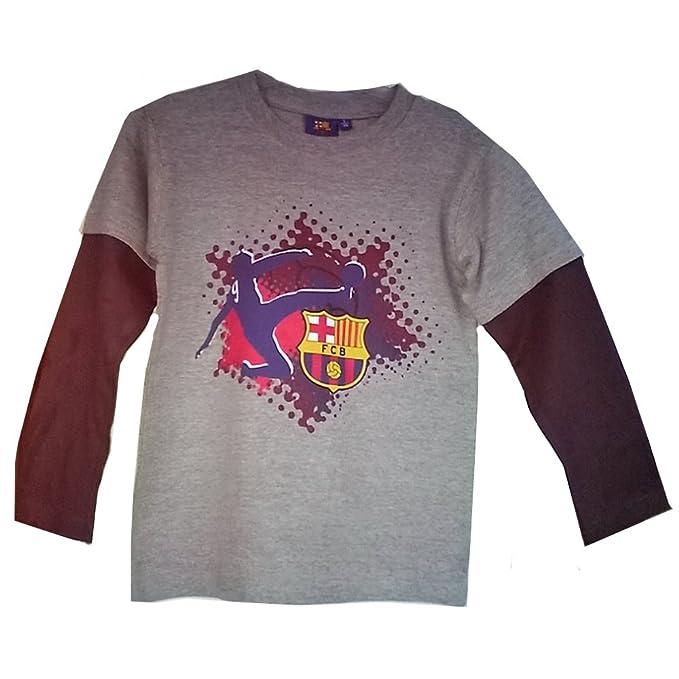 Larga De Para Camiseta Manga Gris Talla Fc Barcelona HombreColor rQtdshC