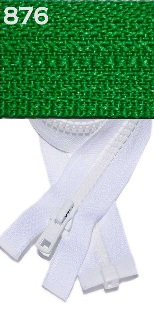 22 Vislon Jacket Zipper, YKK #5 Molded Plastic Separating - Medium Weight By Each (Select Color) (Apple Green - 537) 22 Vislon Jacket Zipper 00011222