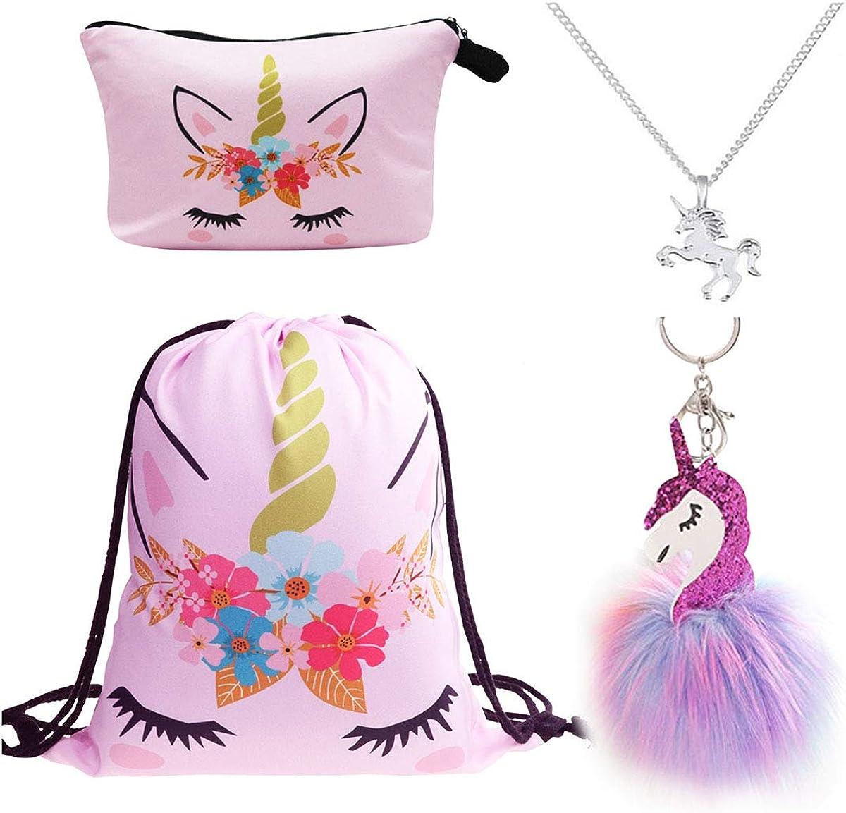 DRESHOW Pack de 4 Unicornios Mochila con cord/ón//Maquillaje Bolsa//Collar de cadena de aleaci/ón//Fluffy Llavero colgante Llavero para ni/ñas