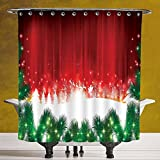 Waterproof Shower Curtain 3.0 by SCOCICI [ Christmas,Blurry Xmas Carol Background with Santa Fir Rudolph Annual Festival Image,Red Green White ] Polyester Fabric Bathroom Shower Curtain