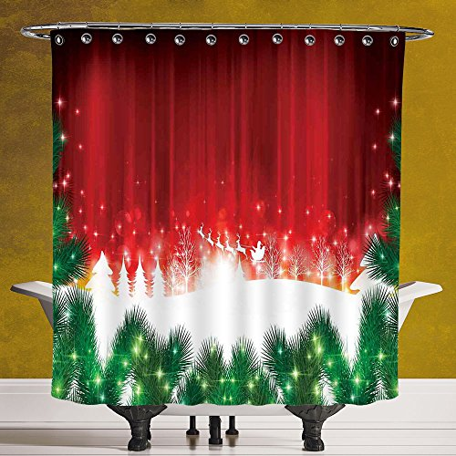 Waterproof Shower Curtain 3.0 by SCOCICI [ Christmas,Blurry Xmas Carol Background with Santa Fir Rudolph Annual Festival Image,Red Green White ] Polyester Fabric Bathroom Shower Curtain by SCOCICI
