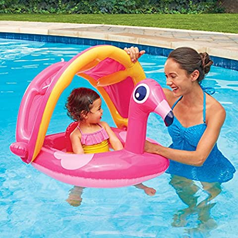 Play Day Pink Flamingo Inflatable Water/Pool Float for Baby with Sunshade Canopy - Seahawk 200 Inflatable Boat