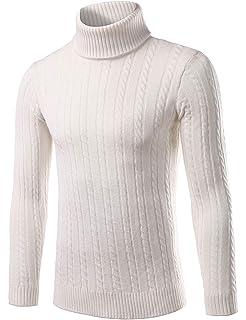 Pinkpum Homme Pulls Col Roulé Coton Uni Sweater Slim Fit Manches Longues  Casual Chandail 5c9b75bf20cc